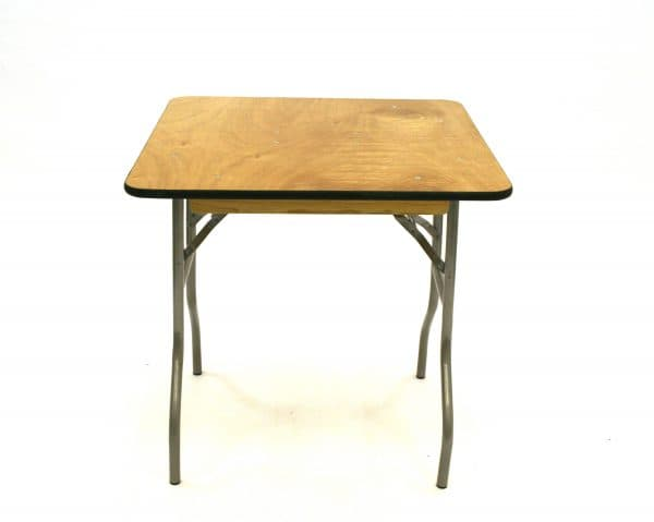 """2'6"""" x 2'6"""" Varnished Trestle Table Hire - BE Event Furniture Hire"""