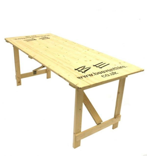 Wooden Trestle Table Hire - 6' x 2'6' Trestle Table - BE Event Hire
