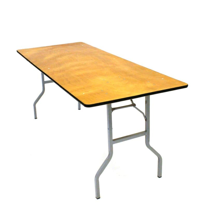 """6′ x 2'6"""" Varnished Trestle Table Hire - BE Event Furniture Hire"""