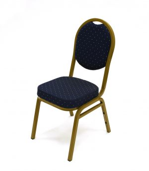 Blue & Gold Banqueting Chair Hire - Weddings, Events - BE Event Furniture Hire