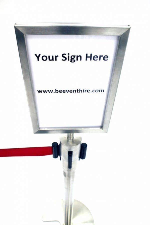 A4 Stretch Barrier Sign Holder for Hire - BE Event Furniture Hire