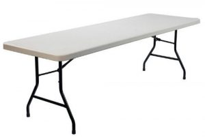 "Sturdy 6' x 2' 6"" blow mold plastic table with steel folding legs - BE Event Hire"