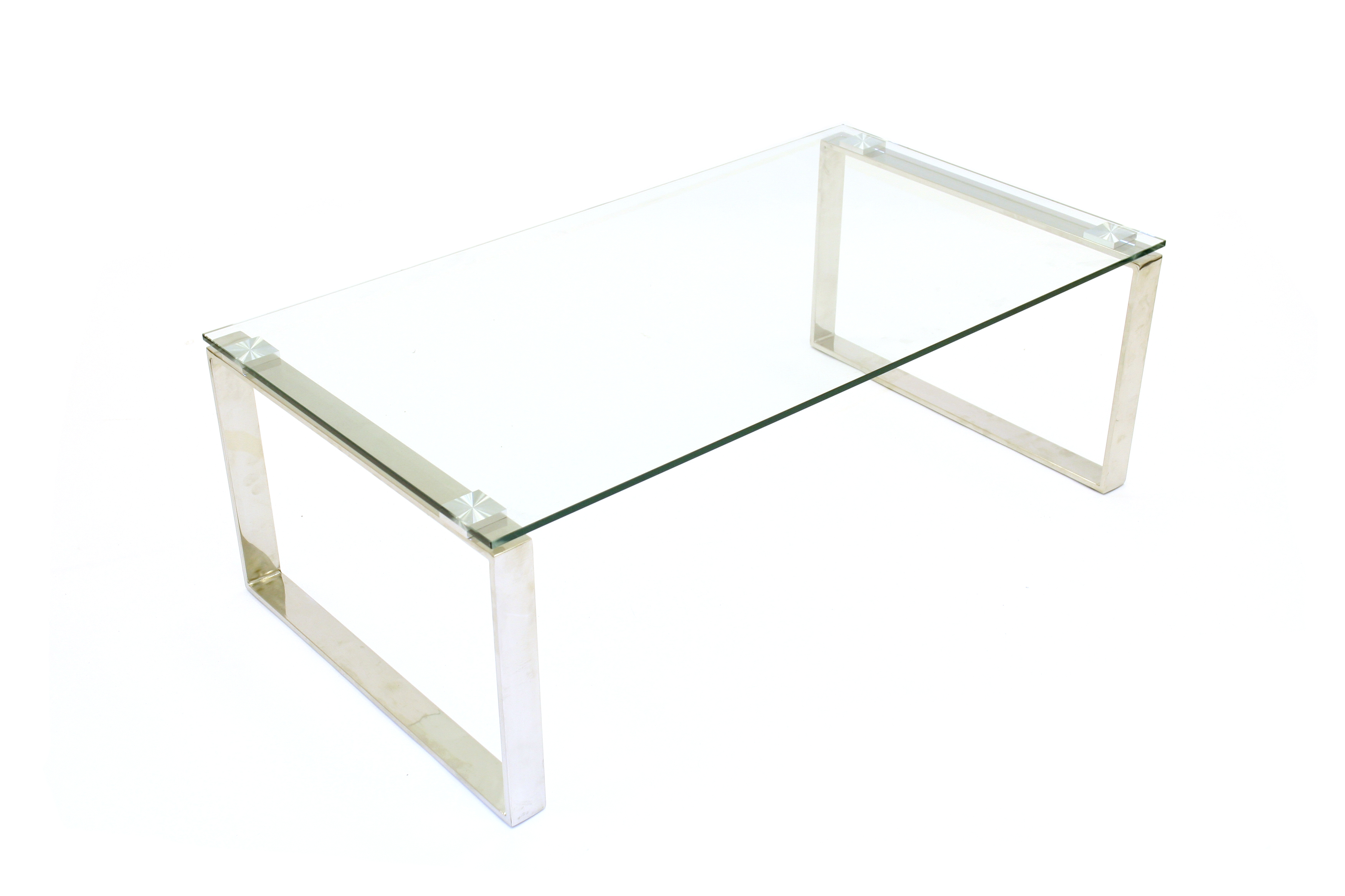 - Glass Coffee Tables For Hire - Silver Metal Frame - BE Event Hire