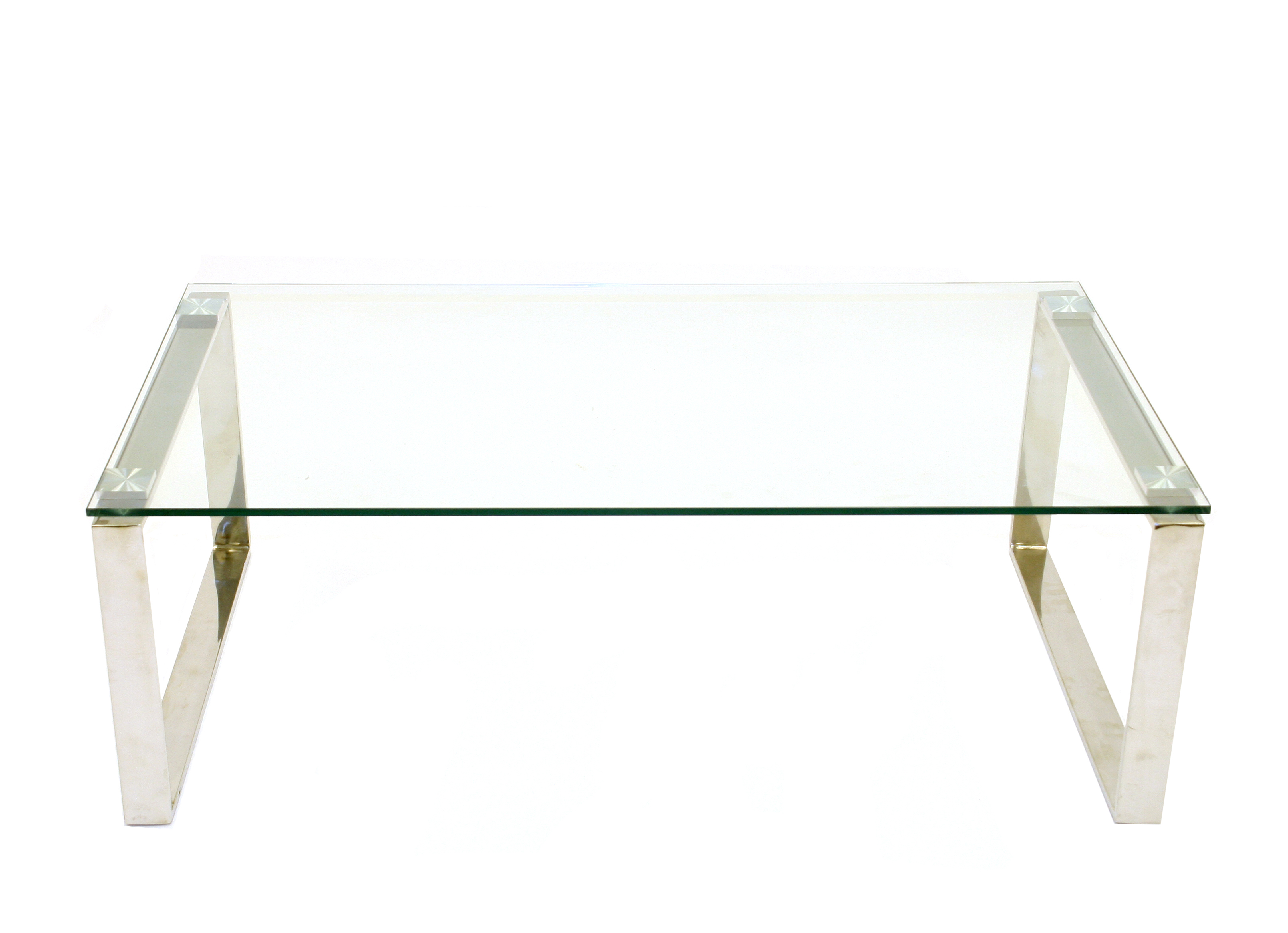 Glass coffee table with silver metal legs - BE Event Hire