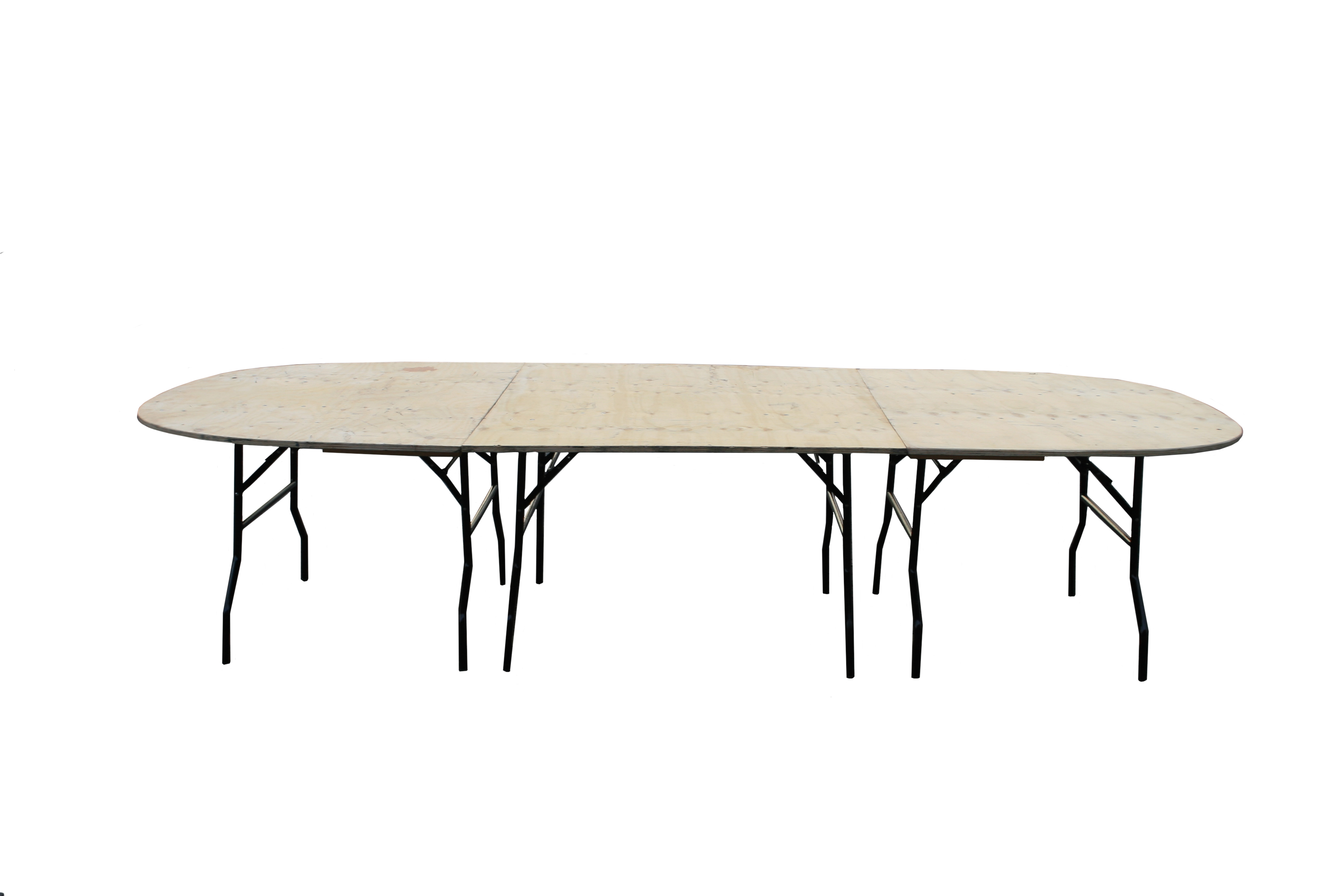 Large oval table constructed from plywood table tops and metal folding legs be event