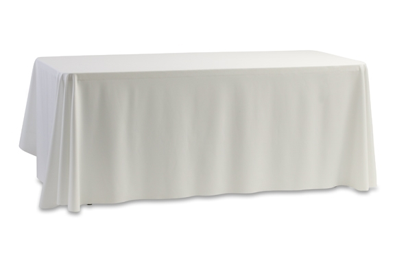 "White linen table cloth measuring 70"" by 144"". Suitable for our 6' by 2' trestle tables. - BE Event Hire"