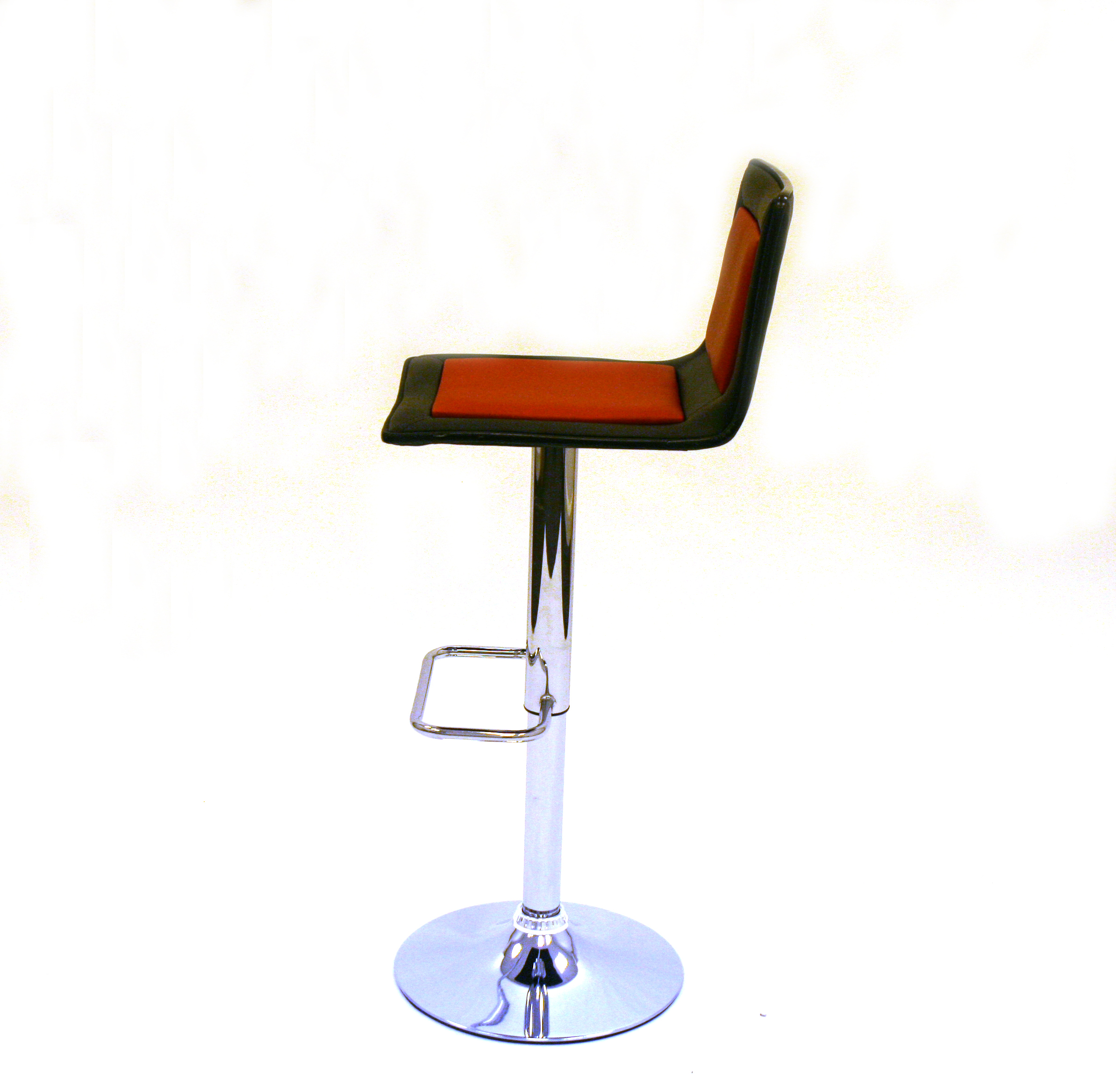 Black And Red Leather Gas Lift Swivel Bar Stool With A