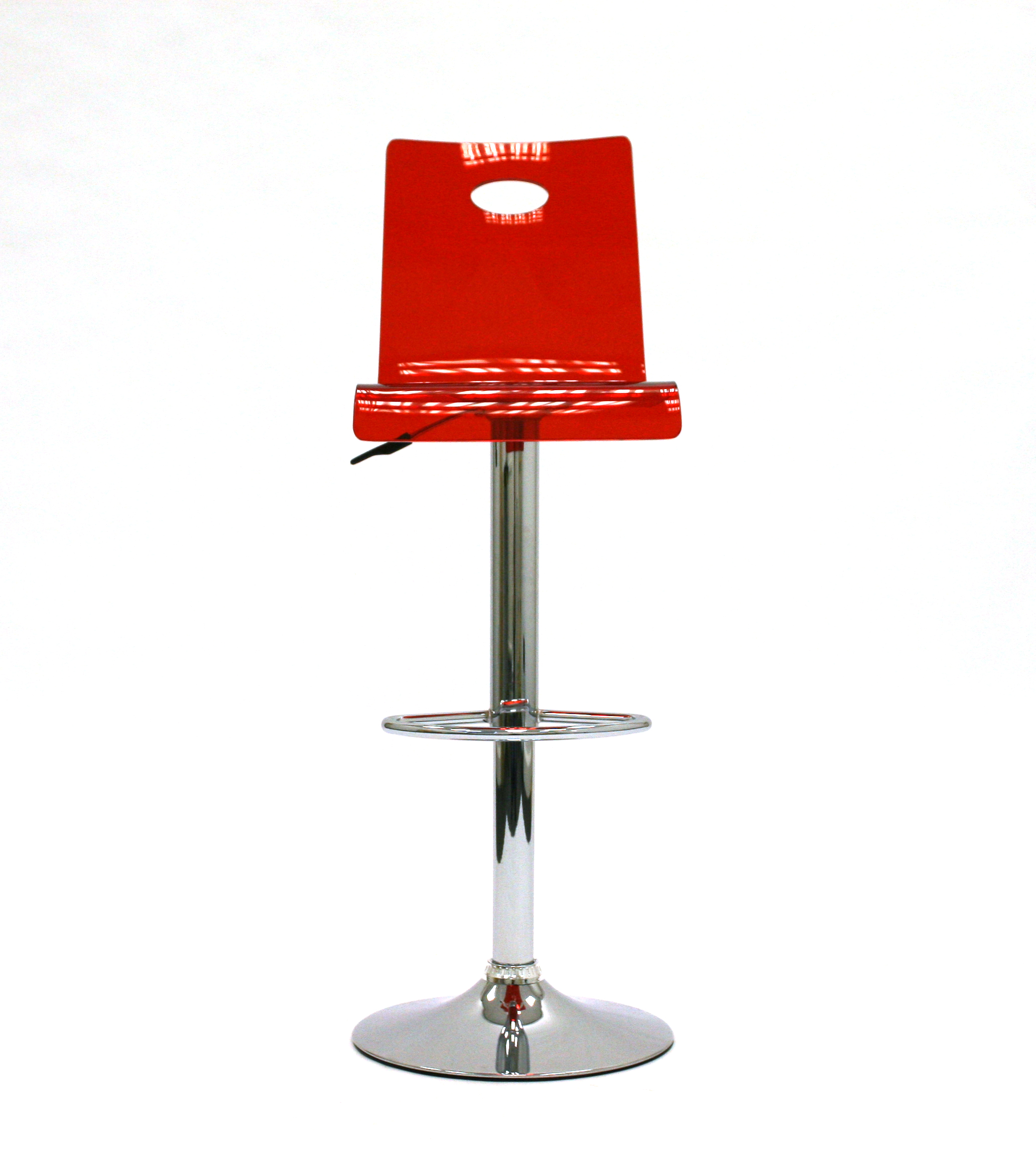Red gas lift plastic swivel bar stool with a chrome base and foot rest - BE Event Hire