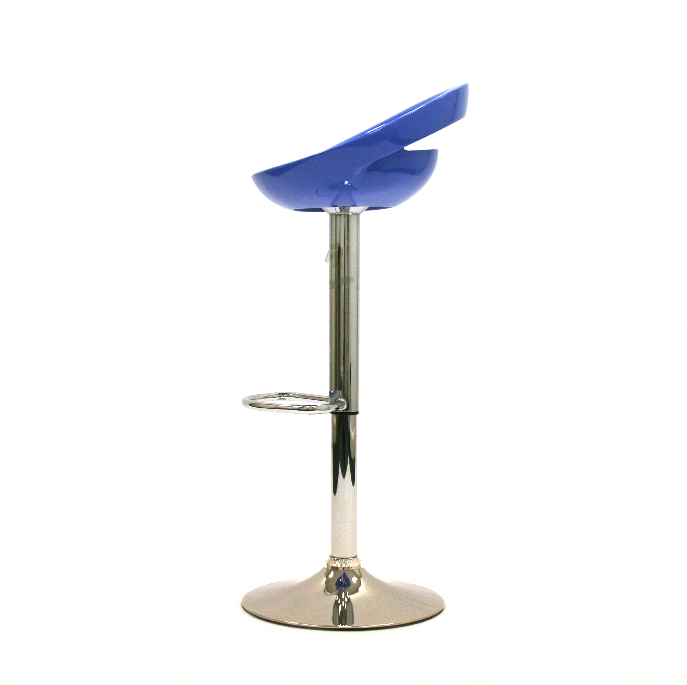 Blue Gas Lift Plastic Swivel Bar Stool With A Chrome Base