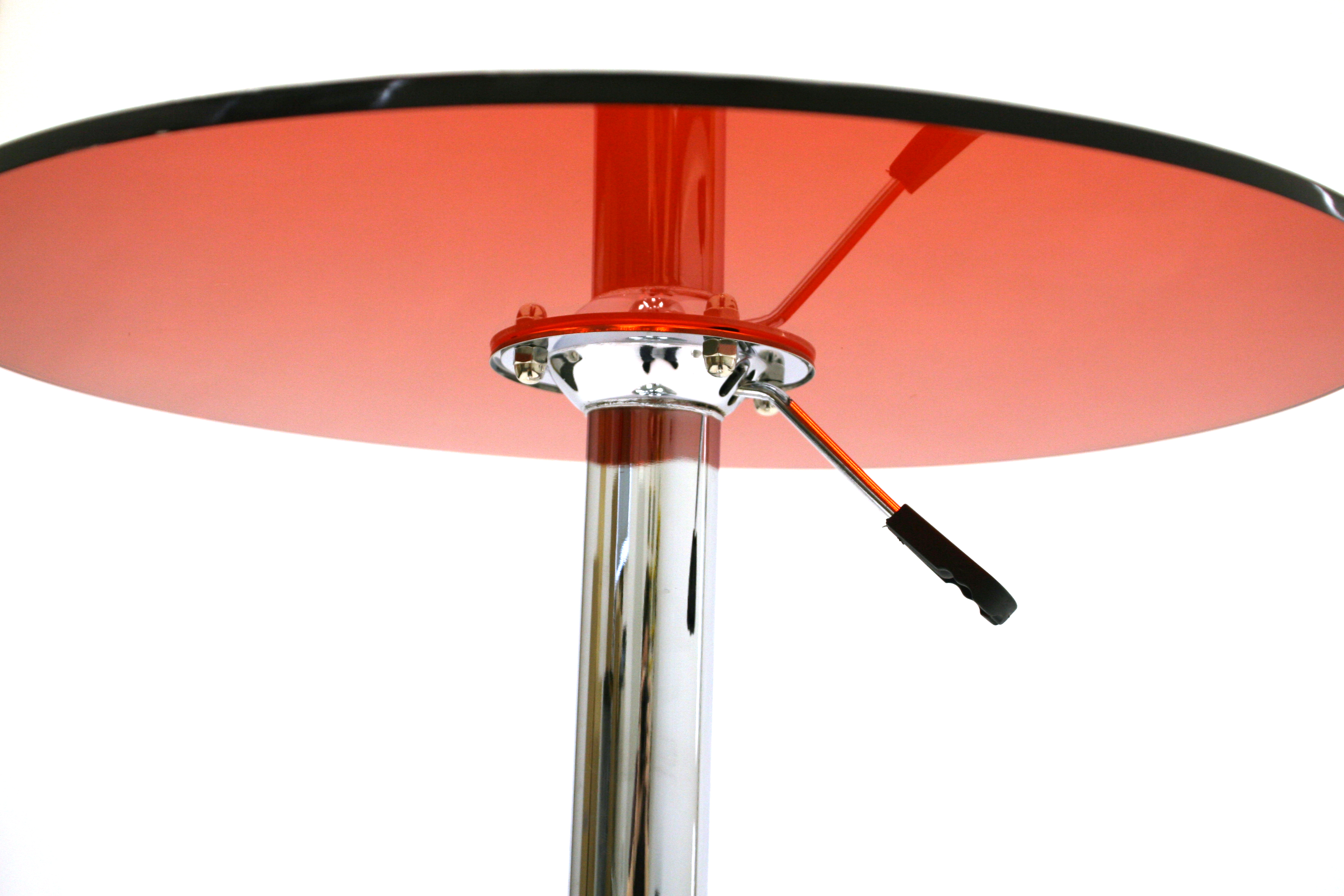 Red Acrylic Bistro Table - 60cm diameter red acrylic swivel gas lift table with a chrome metal base - BE Event Hire