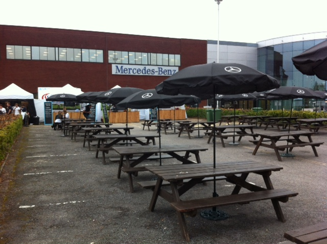 Picnic Benches Hired by Mercedes Benz - BE Event Hire
