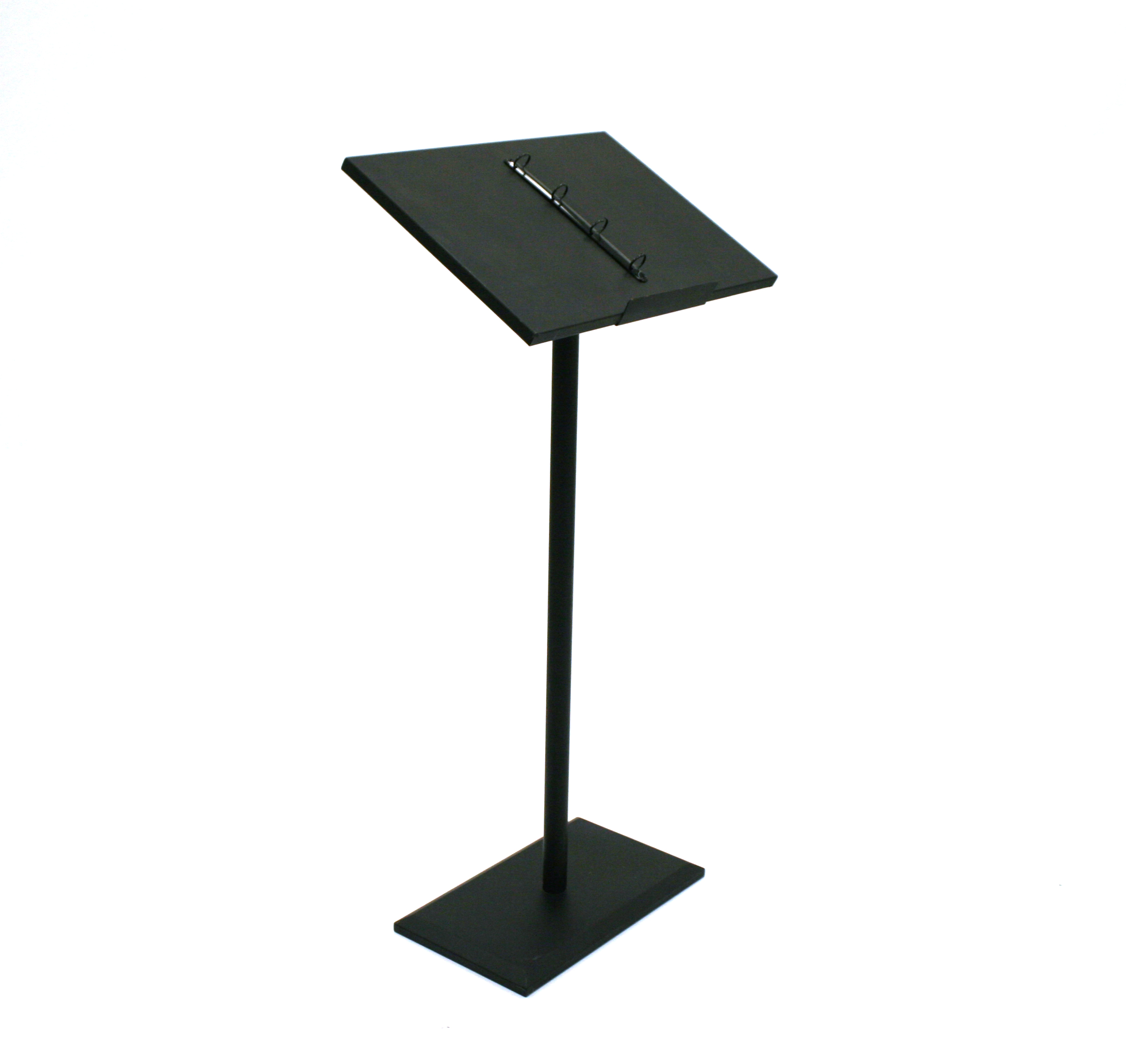 Black powder coated carbon steel lectern with attached ring binders - BE Event Hire