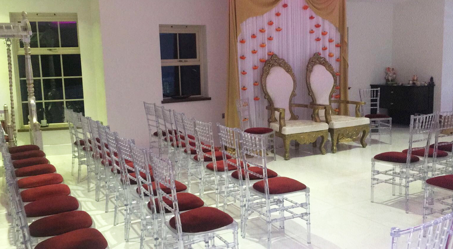 Ice crystal chiavari chairs arranged for wedding ceremony - BE Event Hire