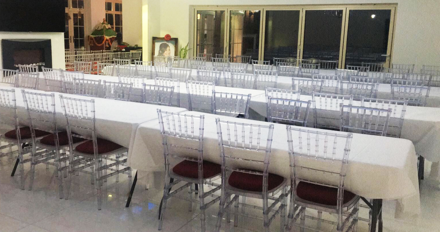 Crystal Resin Chiavari Chairs ready for function - BE Event Hire