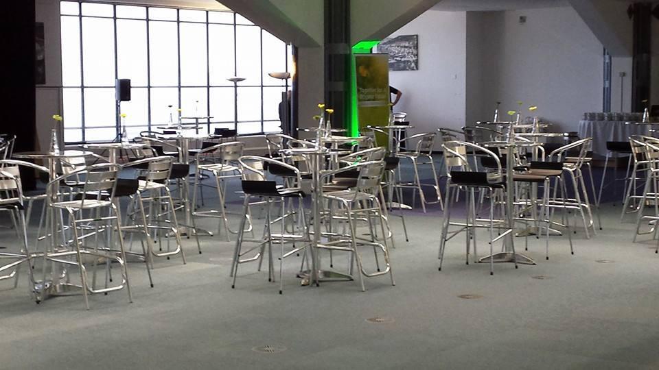 Aluminium High Stool and black bar stools - BE Event Hire