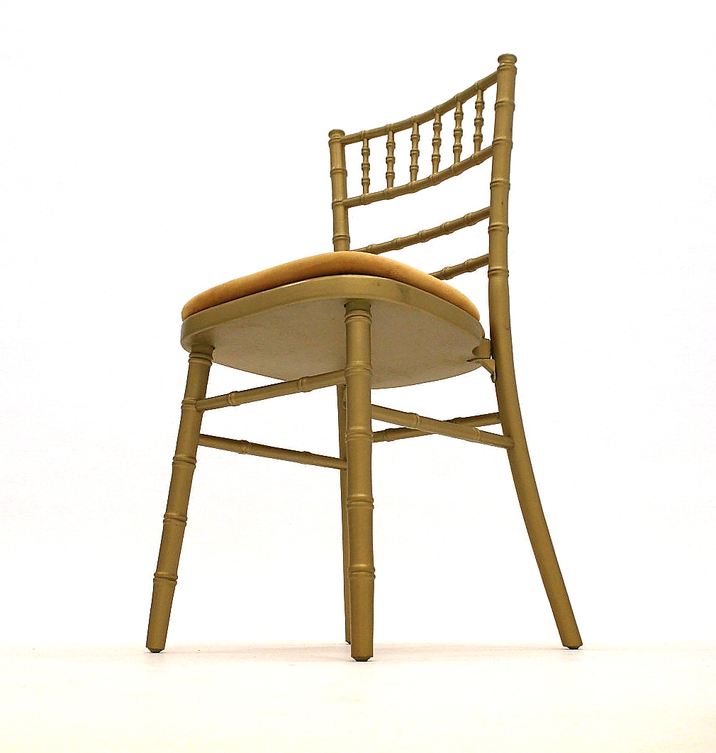 Our Chiavari chairs  wedding chair have a gold wooden frame with a choice of ivory, gold, green, blue or red seat pads - BE Event Hire