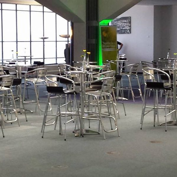 Aluminium High Stools and Black bar stools - BE Event Hire