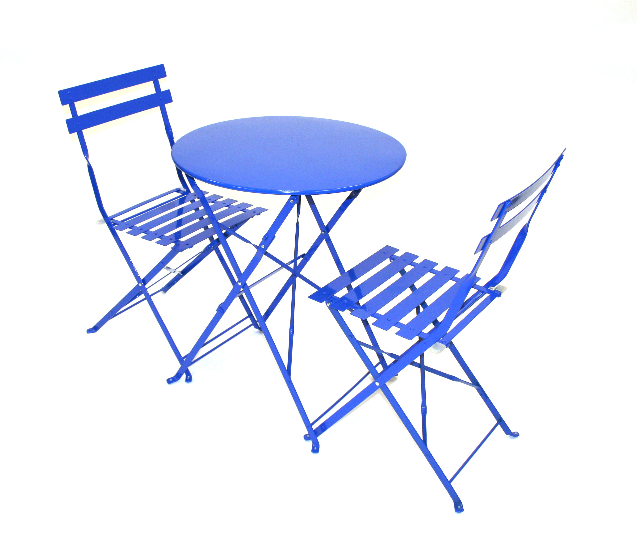 Blue Metal Folding Bistro Chair & Table Set For Hire BE Event Hire