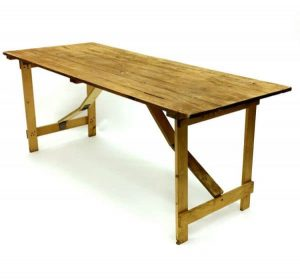 "Wooden Rustic Trestle Table Hire - 6'x 2'6"" Trestle Table - BE Event Hire"
