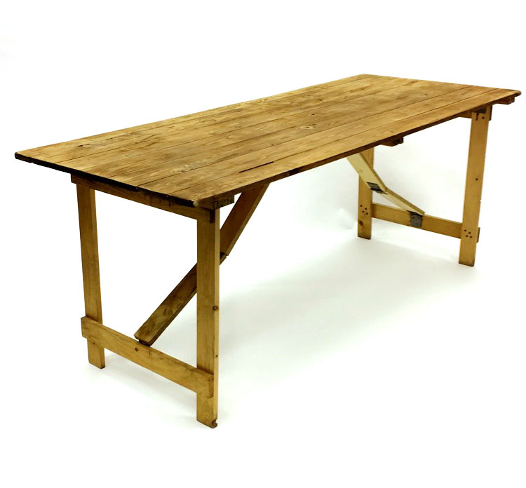 Wooden Rustic Trestle Table Hire - Trestle Table - BE Event Hire
