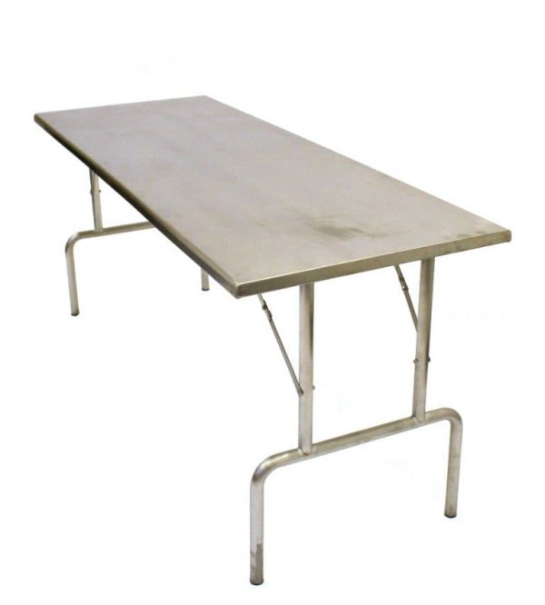 """Stainless Steel Table Hire - 6' x 2'3"""" Trestle Tables - BE Event Hire"""