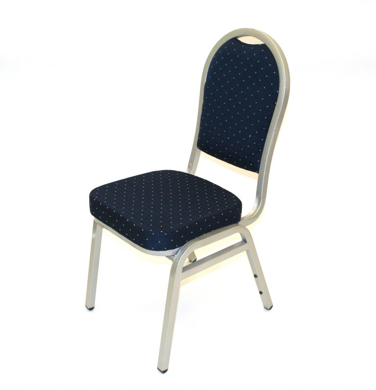 Blue and Silver Banqueting Chair Hire - BE Event Furniture Hire