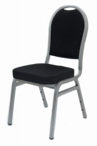 Silver and Black banqueting chairs - BE Event Hire