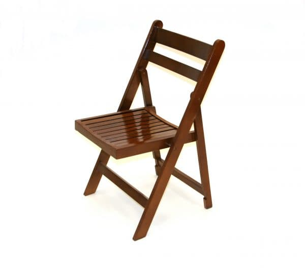 Brown Wooden Folding Chair Hire - BE Event Furniture Hire