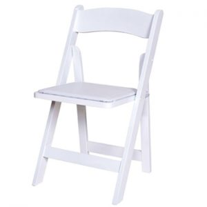 White wooden resin folding chair - BE Event Hire