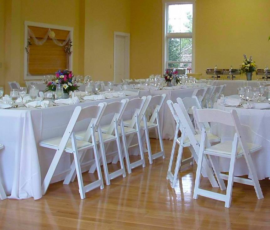 White Folding Chairs Hired for Wedding - BE Event Hire