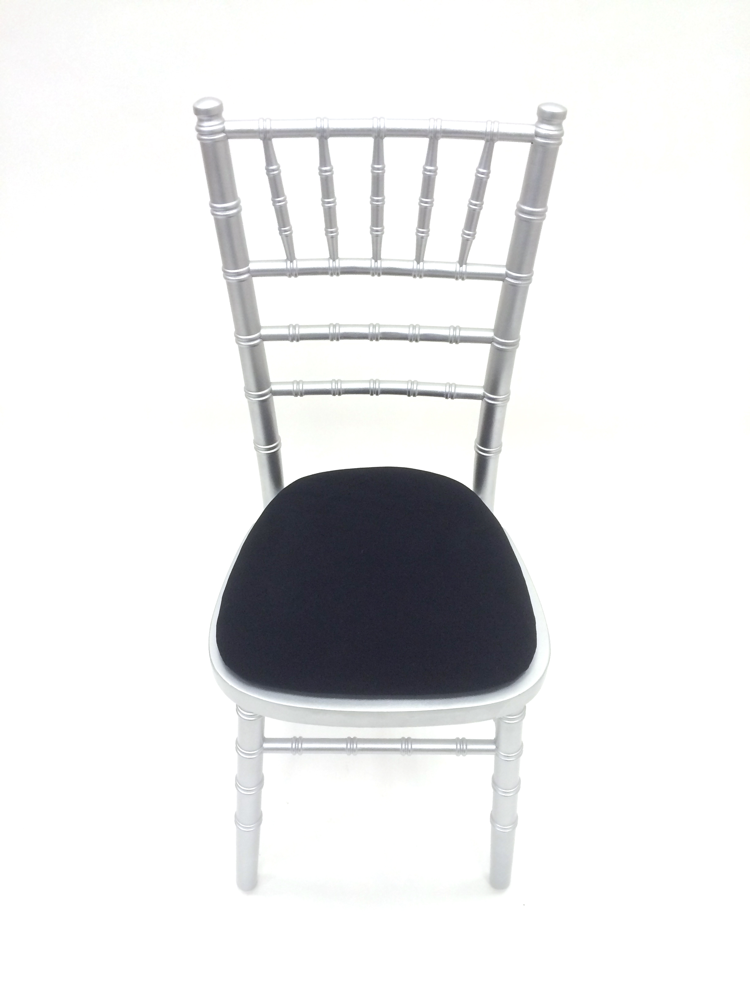 silver chiavari chair wedding, blue seat pad - BE Event Hire