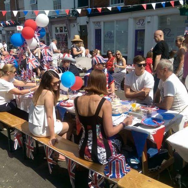 street party, wooden benches , trestle tables - BE Event Hire