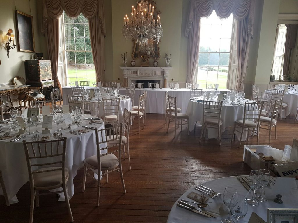 Limewash Chiavari chairs and round banquet tables - BE Event Hire