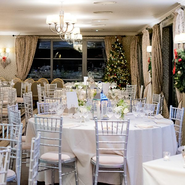 Silver Chiavari Chairs used for Christmas Wedding Reception - BE Event Hire
