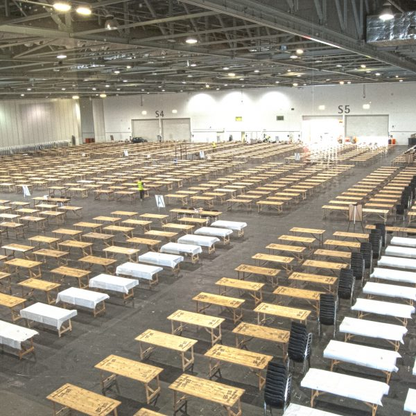 Over 4,000 wooden trestle tables in use at London ExCel