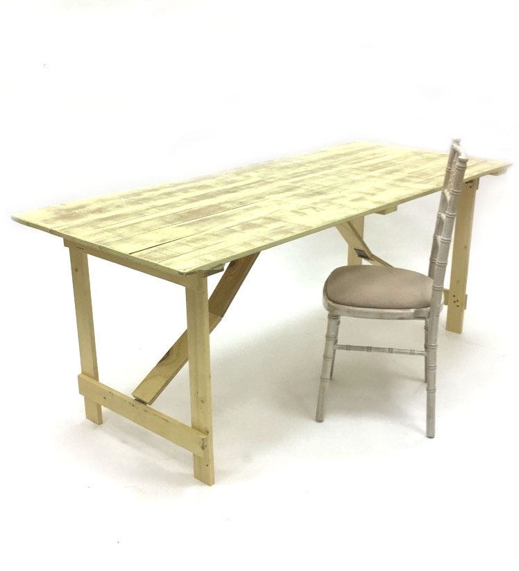 6'x 2'6'' Limewash style distressed rustic table teamed here with a limewash chiavari chair
