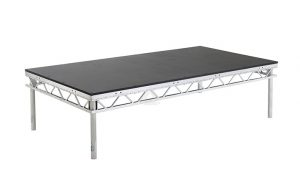 Portable prolyte stage with varying height of legs - BE Event Hire