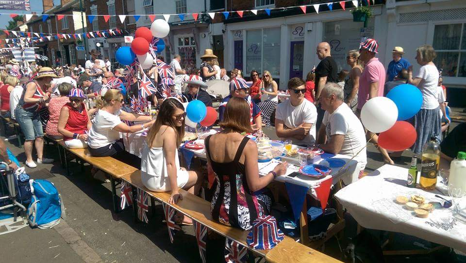 Wooden Bench Hire at a Street Party - BE Event Hire