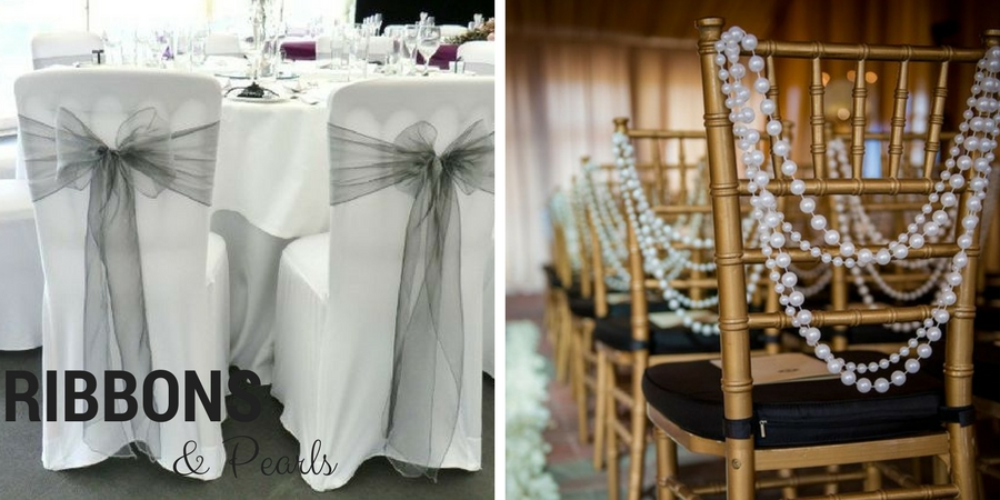 wedding chairs with ribbons and pearls