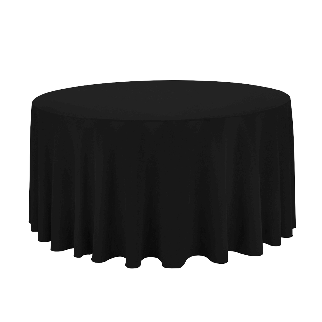Round Table With Tablecloth.Black Table Cloth 108 Diameter