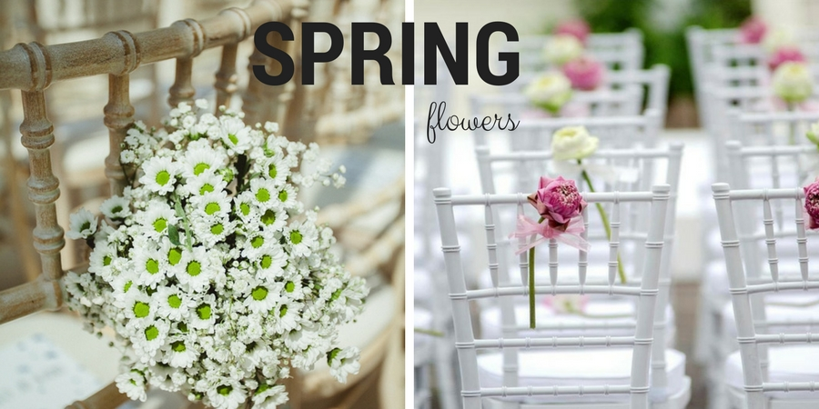 Spring flowers to decorate wedding chairs