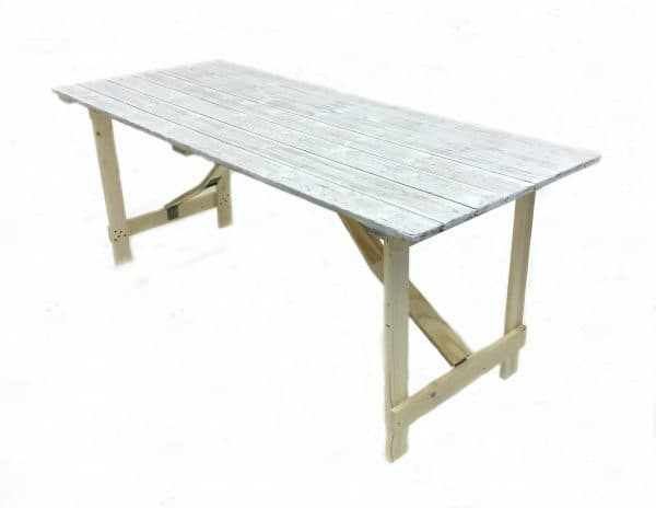 Limewash Distressed Trestle Table - 6'x 3' Trestle Table - BE Event Hire