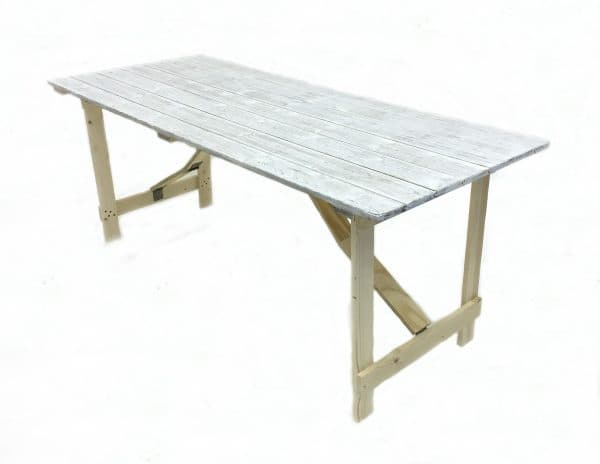 6'x 3′ Limewash Distressed Trestle Table Hire - BE Event Furniture Hire