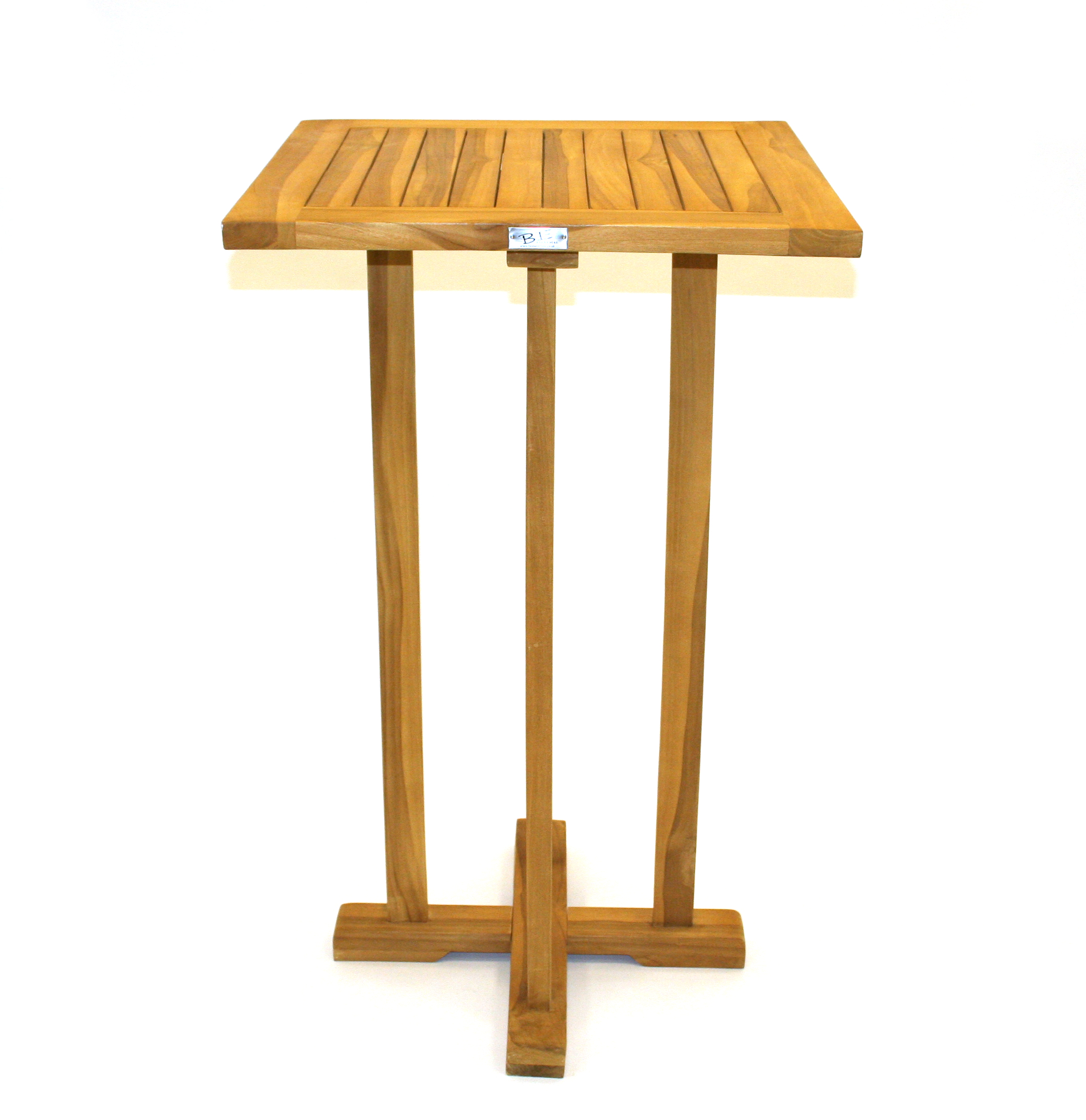 Cm Tall Teak Tables With Cm X Cm Square Tops BE Event Hire - Teak high top table