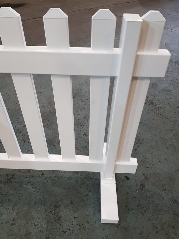 White Freestanding Plastic Picket Fence For Hire Be
