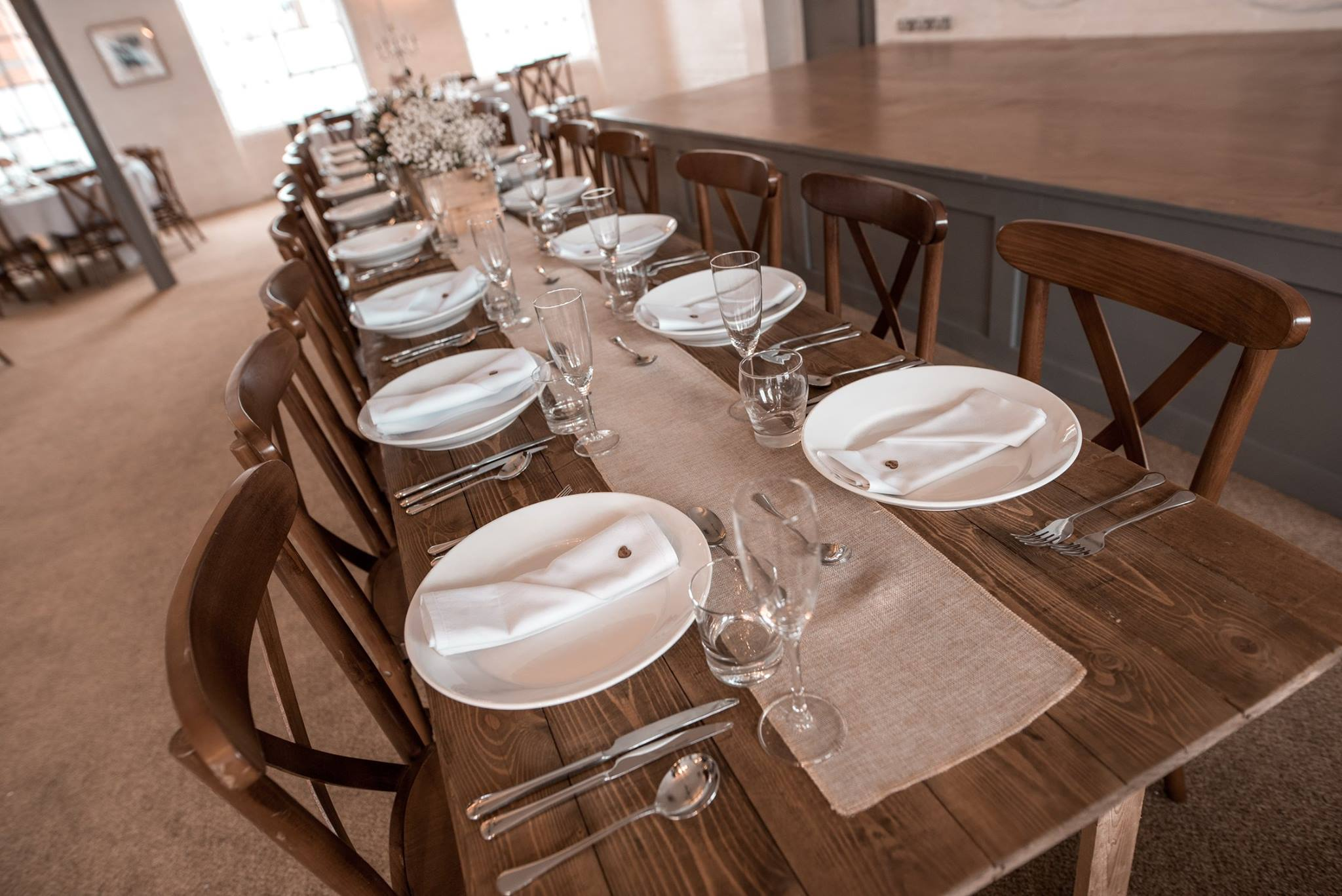 Rustic Trestle tables hired for private function - BE Event Hire
