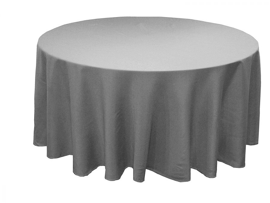 Round Table With Tablecloth.Grey Table Cloth 108 Diameter