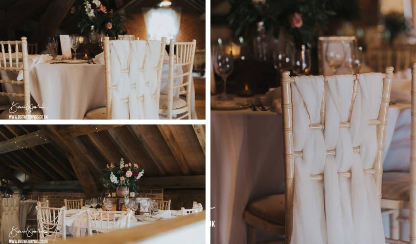 Limewashed chiavari chairs in barn wedding setting - BE Event Furniture Hire