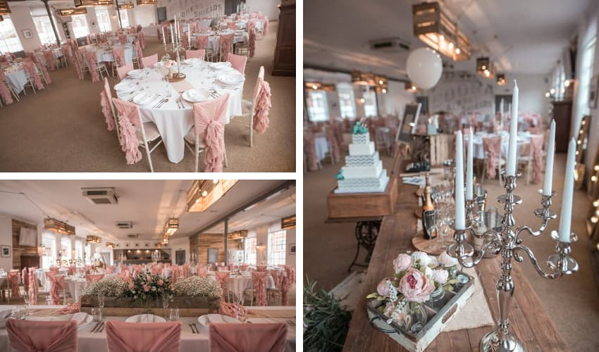 layout using chiavari chairs, candelabras and dusky salmon - BE Event Furniture Hire