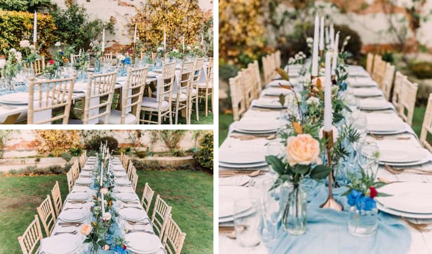 Garden Wedding using distressed furniture - tables and chairs - BE Event Furniture Hire